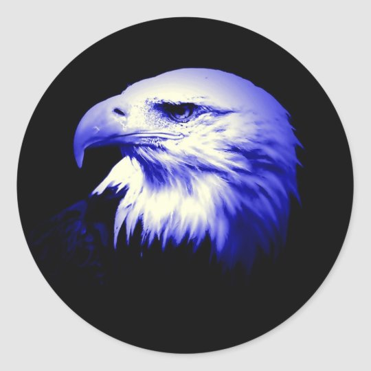 Blue Bald Eagle Classic Round Sticker