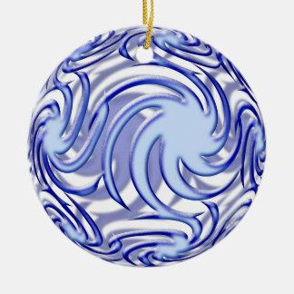 Blue Ball Ceramic Ornament