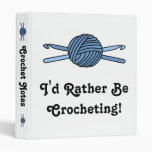 Blue Ball of Yarn & Crochet Hooks 3 Ring Binder