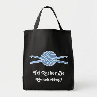 Blue Ball of Yarn & Crochet Hooks Tote Bags