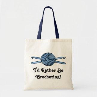 Blue Ball of Yarn & Crochet Hooks Tote Bag