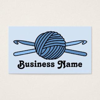 Blue Ball of Yarn & Crochet Hooks (Blue Back) Business Card