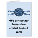 Blue Ball of Yarn & Crochet Hooks (Blue Back) Greeting Card