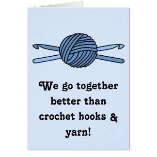 Blue Ball of Yarn & Crochet Hooks (Blue Back) Card