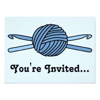 "Blue Ball of Yarn & Crochet Hooks (Blue Back) 5.5"" X 7.5"" Invitation Card"