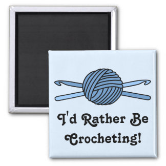 Blue Ball of Yarn & Crochet Hooks (Blue Back) Magnet