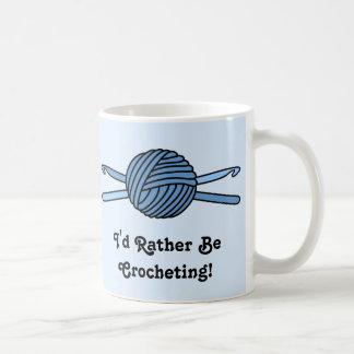 Blue Ball of Yarn & Crochet Hooks (Blue Back) Mugs