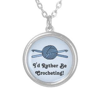 Blue Ball of Yarn & Crochet Hooks (Blue Back) Silver Plated Necklace