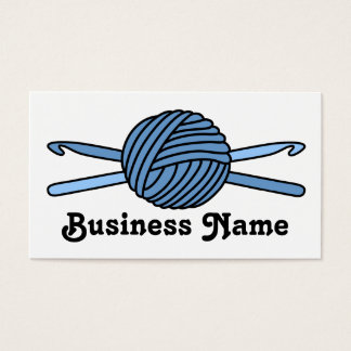 Blue Ball of Yarn & Crochet Hooks Business Card