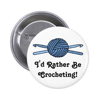 Blue Ball of Yarn & Crochet Hooks 2 Inch Round Button