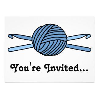 Blue Ball of Yarn & Crochet Hooks Custom Announcements