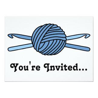 "Blue Ball of Yarn & Crochet Hooks 5.5"" X 7.5"" Invitation Card"