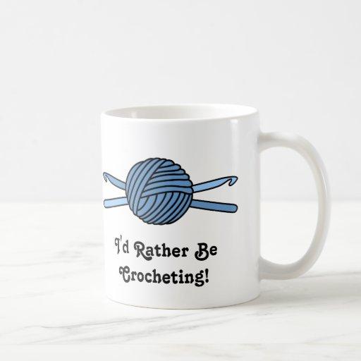 Blue Ball of Yarn & Crochet Hooks Classic White Coffee Mug
