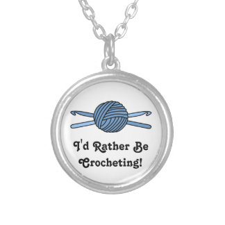 Blue Ball of Yarn & Crochet Hooks Round Pendant Necklace