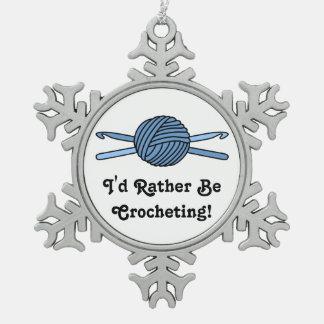 Blue Ball of Yarn & Crochet Hooks Snowflake Pewter Christmas Ornament
