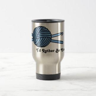 Blue Ball of Yarn & Crochet Hooks Travel Mug