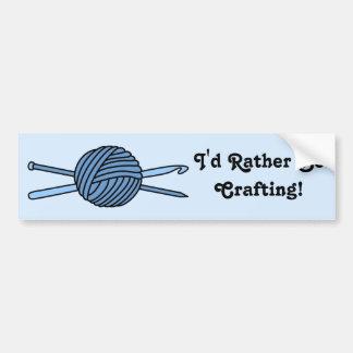 Blue Ball of Yarn (Knit & Crochet) Bumper Sticker