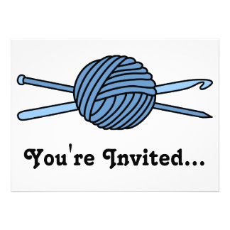 Blue Ball of Yarn (Knit & Crochet) Personalized Announcements