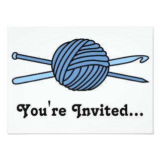 "Blue Ball of Yarn (Knit & Crochet) 5.5"" X 7.5"" Invitation Card"