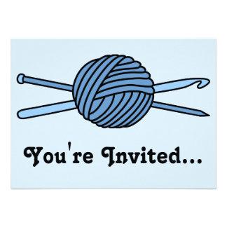 Blue Ball of Yarn (Knit & Crochet) Custom Announcements