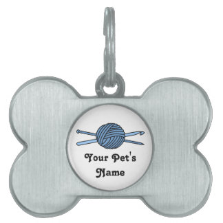 Blue Ball of Yarn (Knit & Crochet) Pet Name Tag