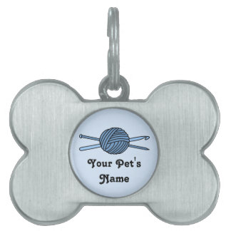 Blue Ball of Yarn (Knit & Crochet) Pet Name Tags