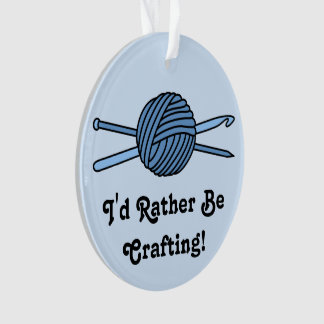Blue Ball of Yarn (Knit & Crochet - Version 2) Ornament
