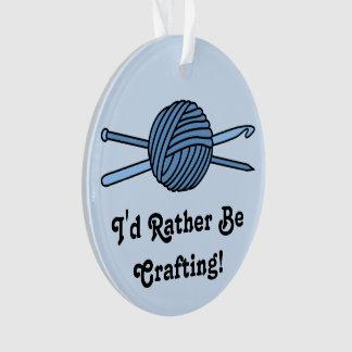 Blue Ball of Yarn (Knit & Crochet - Version 2) Ornament