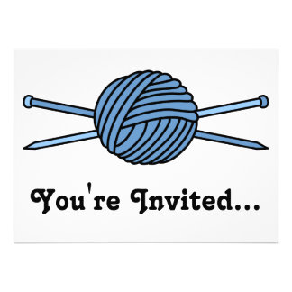 Blue Ball of Yarn & Knitting Needles Announcements
