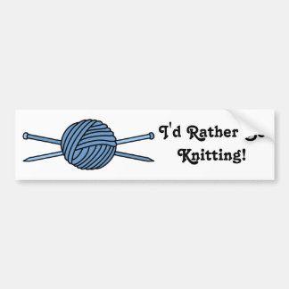 Blue Ball of Yarn & Knitting Needles Bumper Sticker