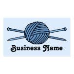 Blue Ball of Yarn & Knitting Needles Business Card
