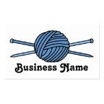 Blue Ball of Yarn & Knitting Needles Business Card Template
