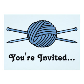 Blue Ball of Yarn & Knitting Needles Personalized Announcement