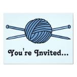 "Blue Ball of Yarn & Knitting Needles 5.5"" X 7.5"" Invitation Card"