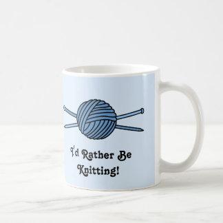 Blue Ball of Yarn & Knitting Needles Classic White Coffee Mug