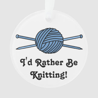 Blue Ball of Yarn & Knitting Needles Ornament