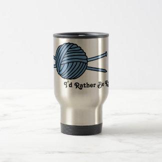 Blue Ball of Yarn & Knitting Needles Travel Mug