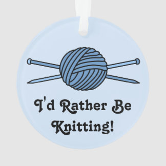 Blue Ball of Yarn & Knitting Needles (Version 2) Ornament