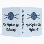 Blue Ball of Yarn & Knitting Needles Vinyl Binder