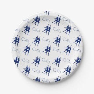 Blue Ballet Dancer Pattern 7 Inch Paper Plate