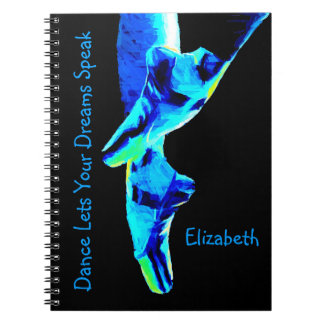 Blue Ballet Pointe Slippers Personalized Spiral Notebook