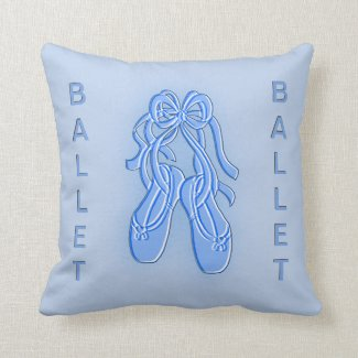 Blue Ballet Slippers American Mojo Pillow Throw Pillow