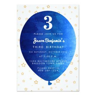 Blue Balloon Birthday Party Invitation
