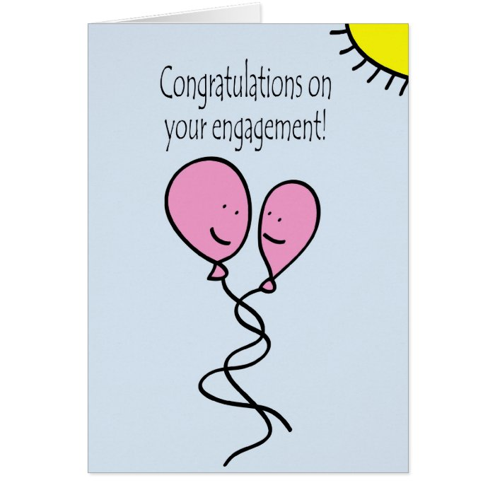 Blue balloon engagement congratulations card zazzle