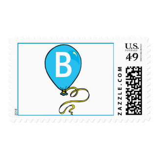 Blue Balloon Monogram B Baby Shower Postage Stamp
