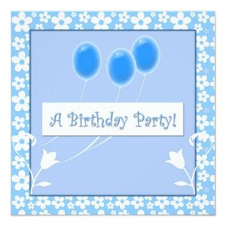 Blue Balloons Birthday Party Invitations