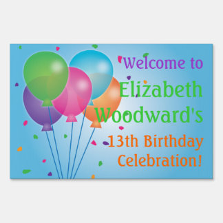 Blue Balloons Birthday Yard Sign (Large)