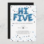 Blue Balloons | Hi Five 5th Birthday Invitation