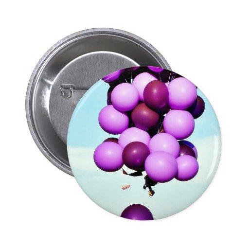 Blue Balloons Hot Air Cluster Button