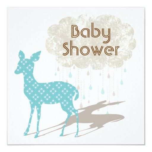 "Blue Bambi Baby Shower Inviation 5.25"" Square Invitation Card"